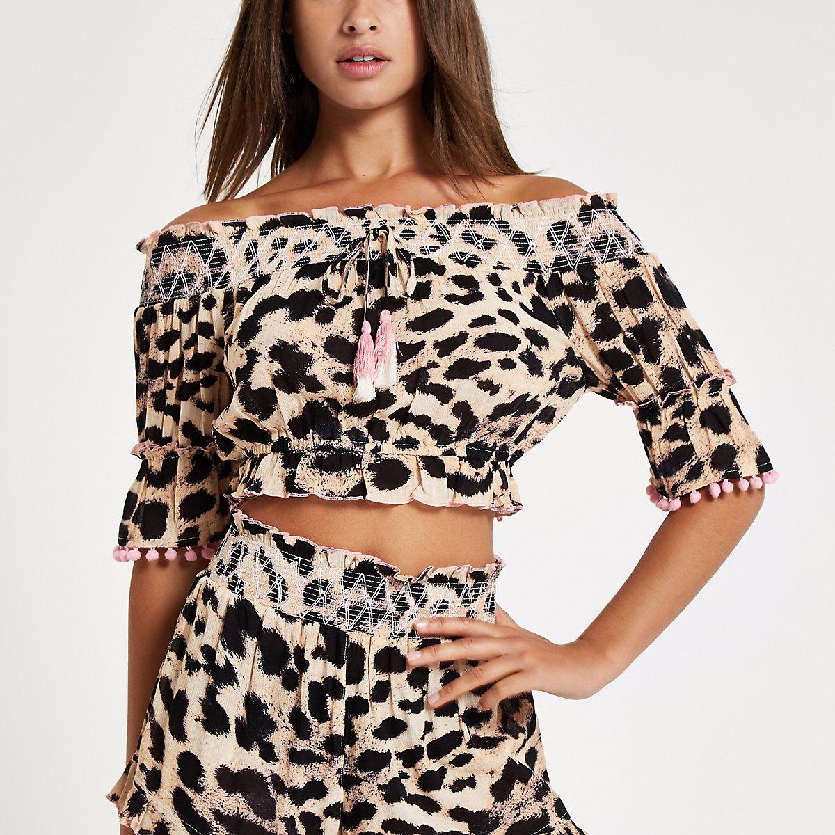 Crop top de plage style Bardot marron à imprimé léopard