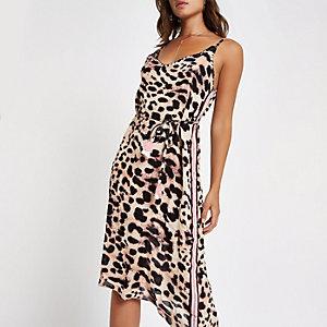Robe de plage asymétrique imprimé léopard marron