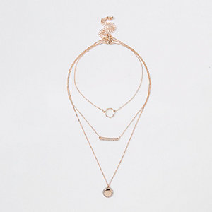 Gold tone circle and bar layer necklace pack