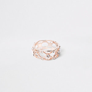 Rose gold tone diamante lattice ring