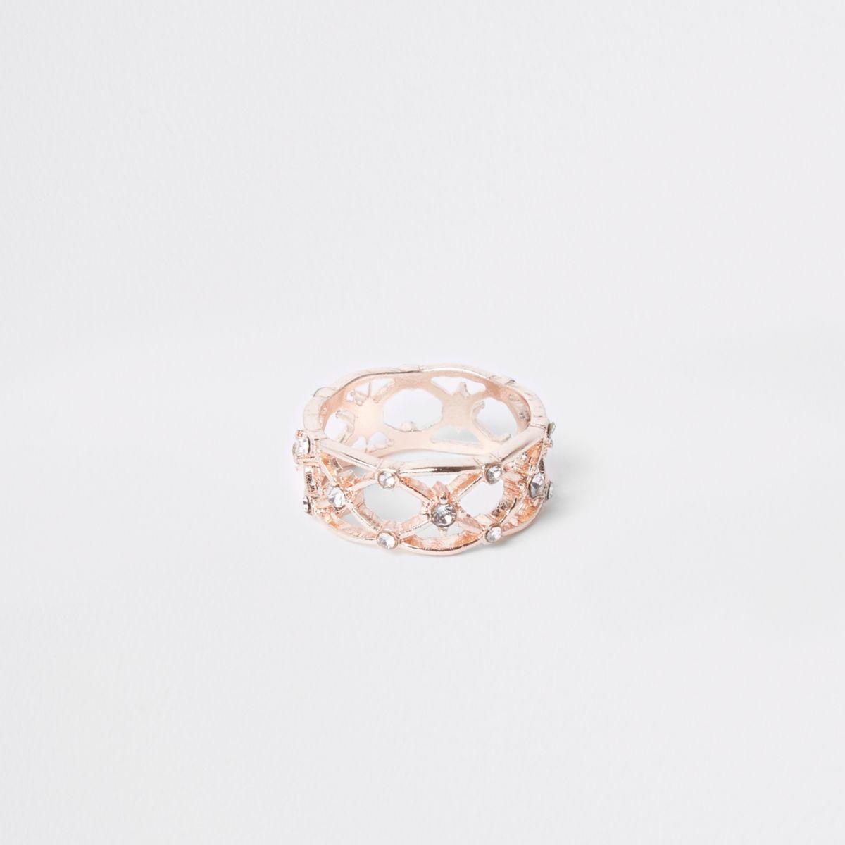 Rose gold tone diamante lattice ring