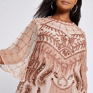 Plus – Pinke, verzierte Bluse