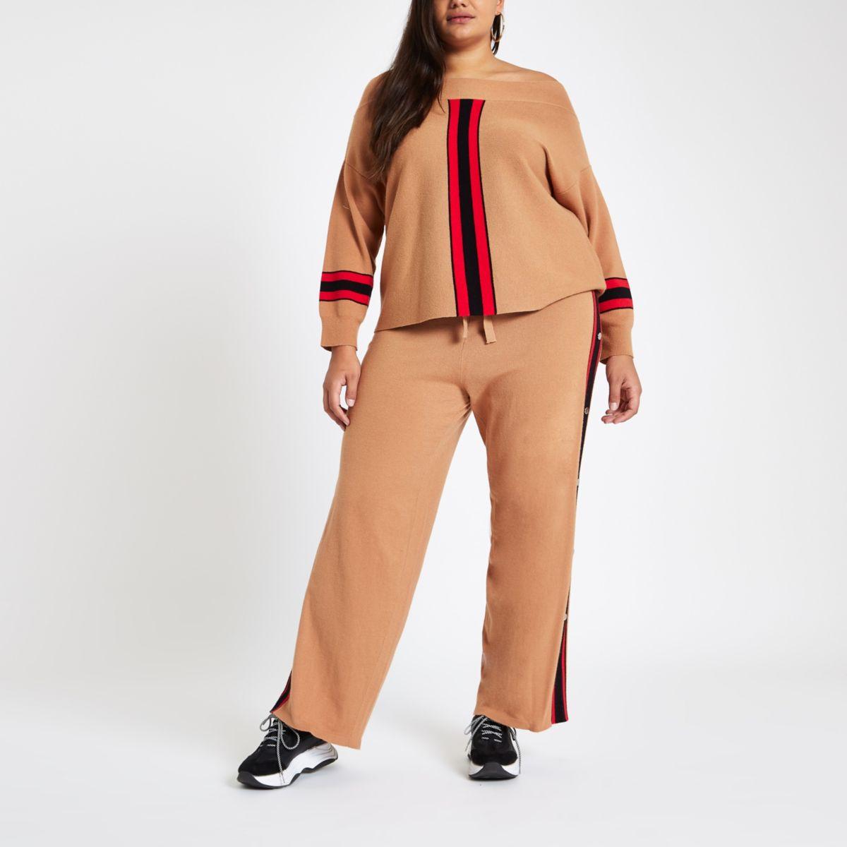 Plus beige stripe knit bardot top