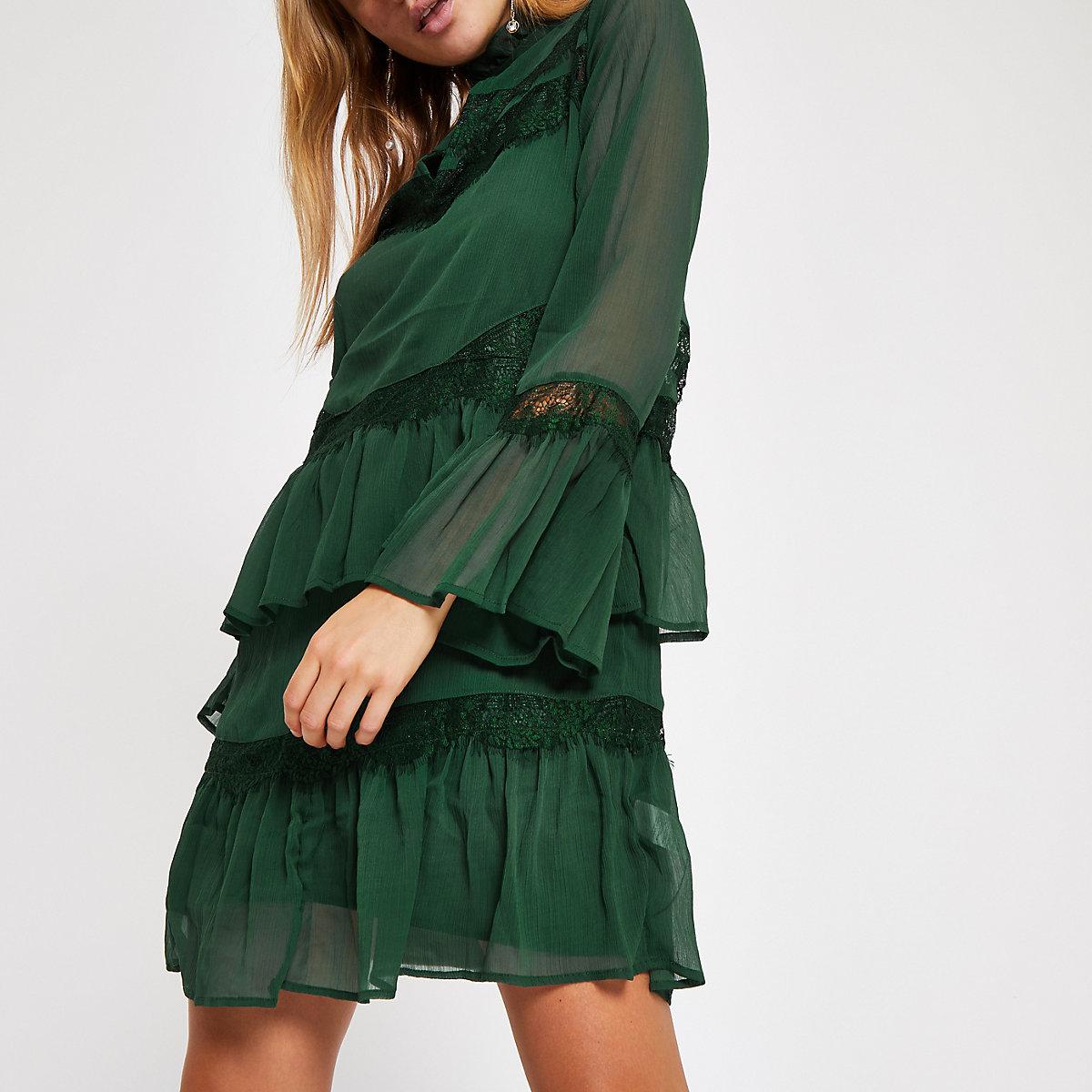 Dark green lace frill trim swing dress