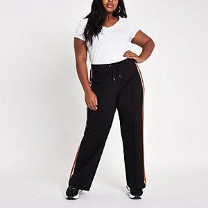 Plus – Pantalon de jogging large à bande latérale orange