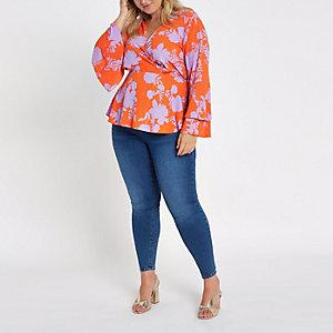 Plus pink floral wrap flute sleeve blouse