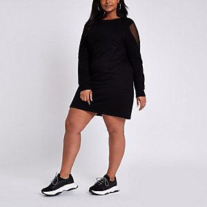 Plus black mesh long sleeve jumper dress