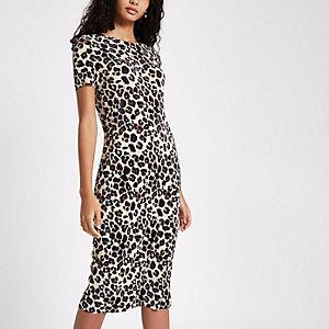 Zwarte midi-jurk met plissé en luipaardprint