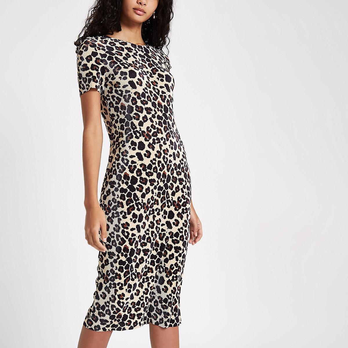 4608a7d734 Black plisse leopard print midi dress Black plisse leopard print midi dress  ...