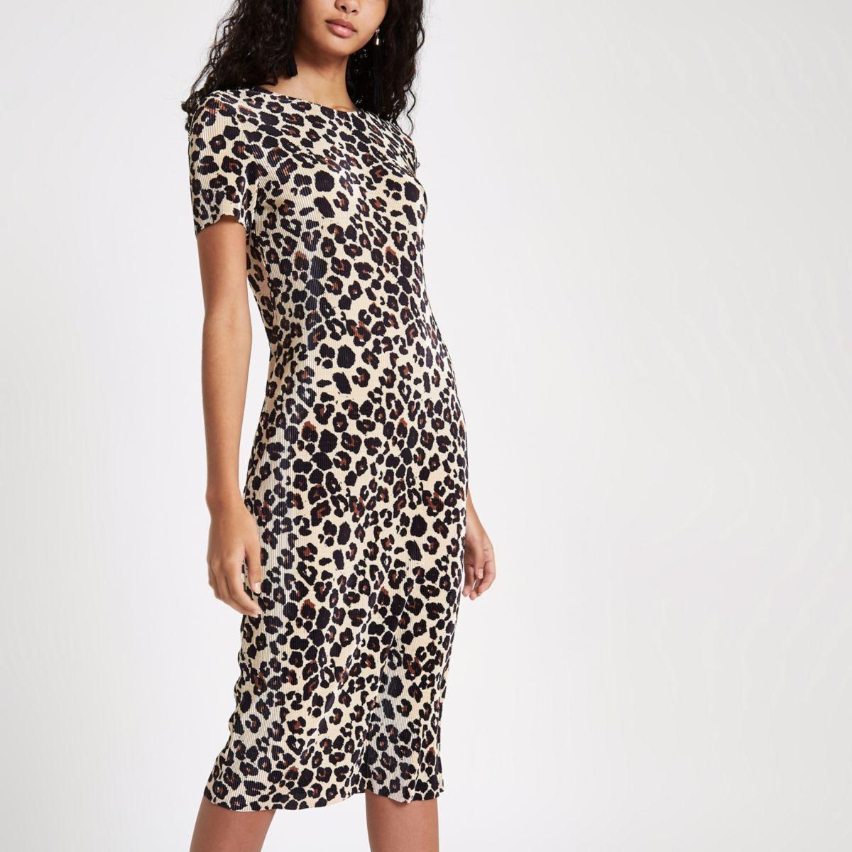 Black plisse leopard print midi dress