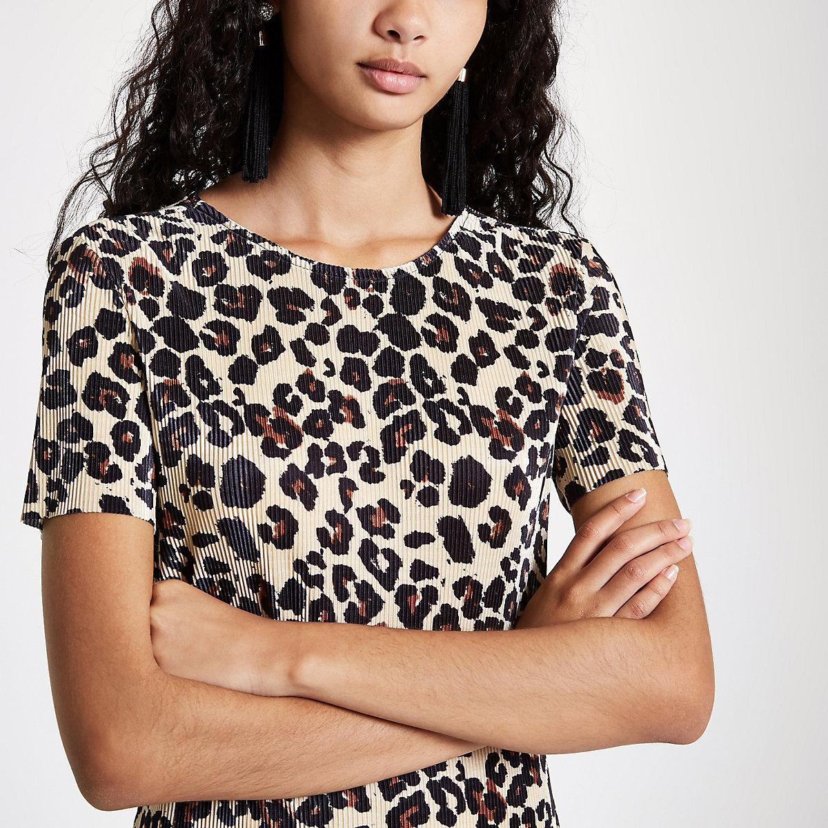 6cf3f96857 Black plisse leopard print midi dress - Party   Evening Dresses ...