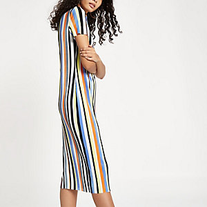 Cream plisse stripe midi dress