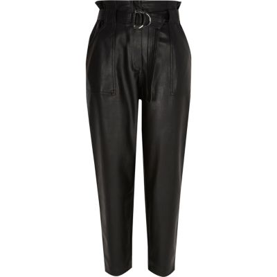 Petite Black Faux Leather Paperbag Trousers by River Island