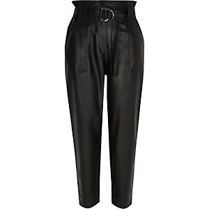 Petite black faux leather paperbag pants