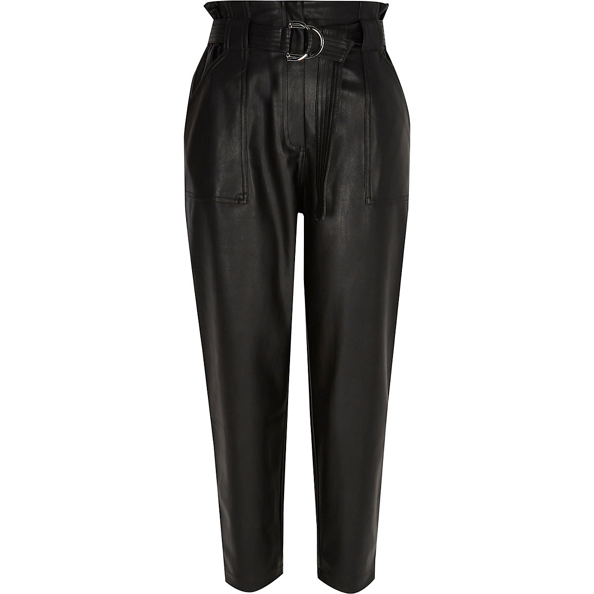 Petite black faux leather paperbag trousers