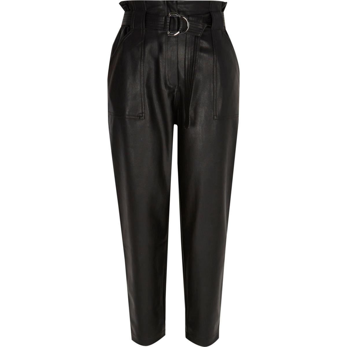 Petite black faux leather paperbag pants