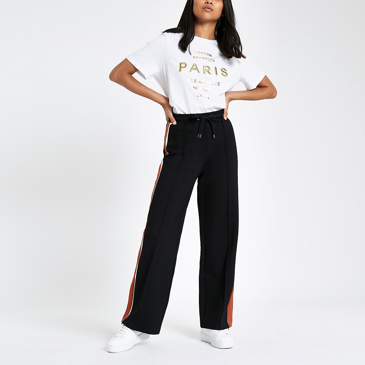 Petite black side stripe wide leg joggers