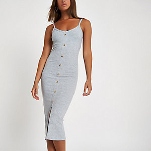 Grey button front rib bodycon dress