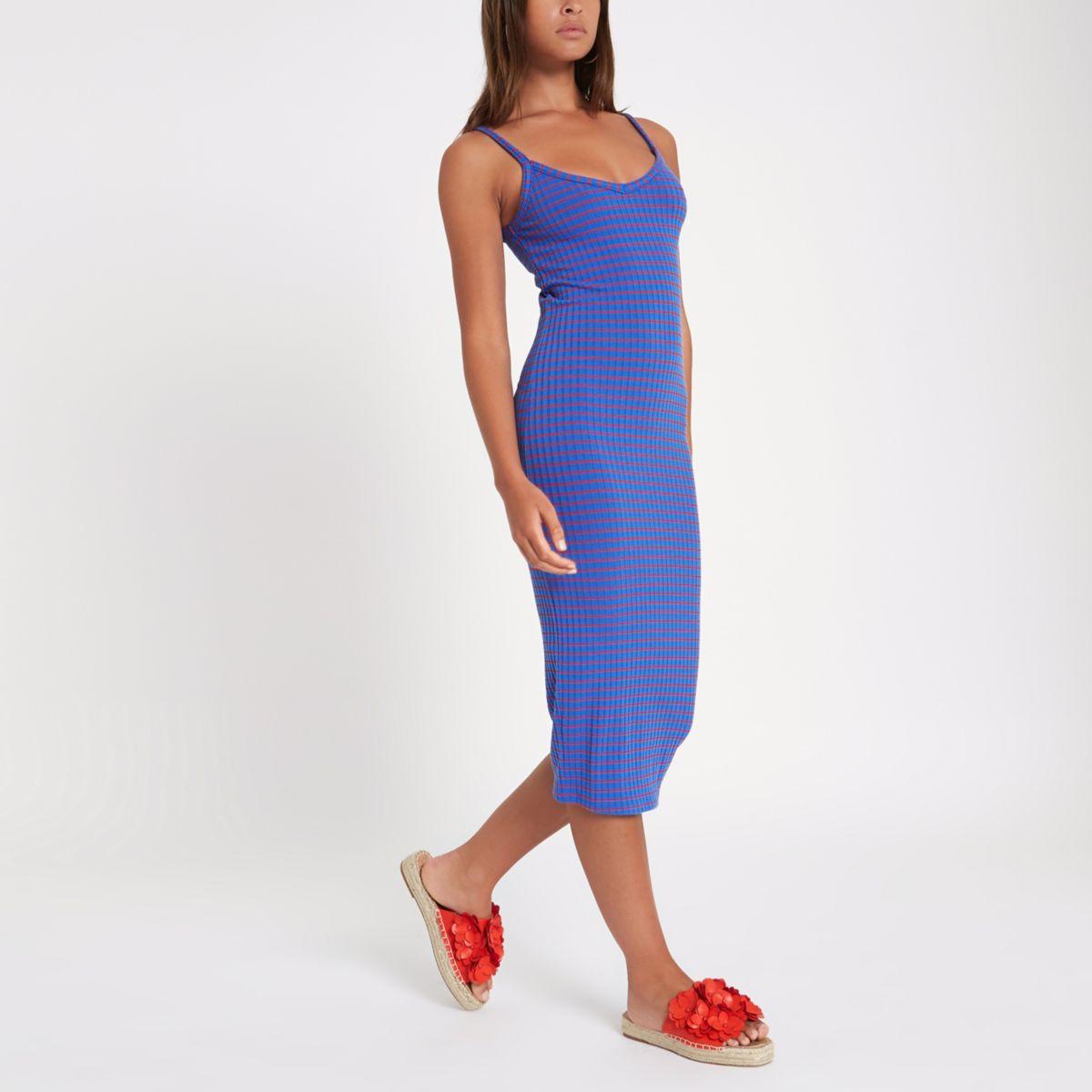Blue stripe rib midi dress