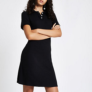 Black collar mini tea dress