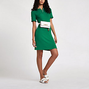Green collar mini tea dress