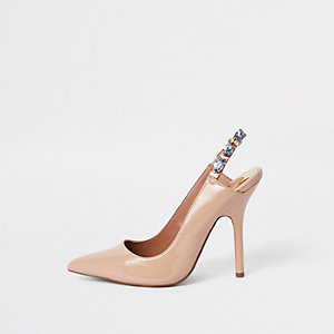 Pink jewel embellished sling back court shoes