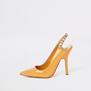 Yellow jewel embellished court shoes
