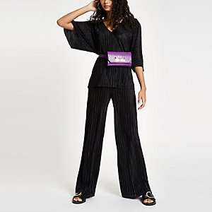 Black pleated jersey wide leg pants