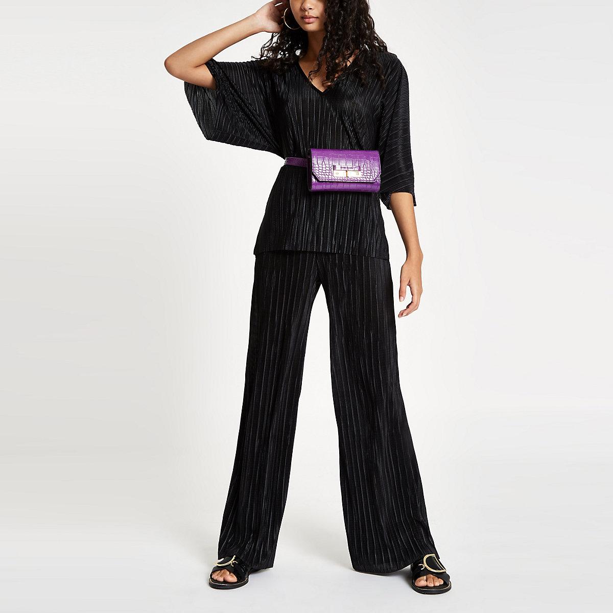Black pleated jersey wide leg trousers