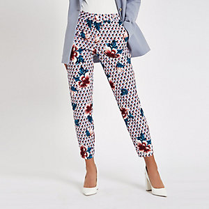 Pink floral print cigarette trousers
