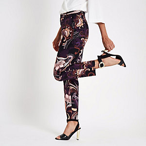 Black paisley print cigarette trousers