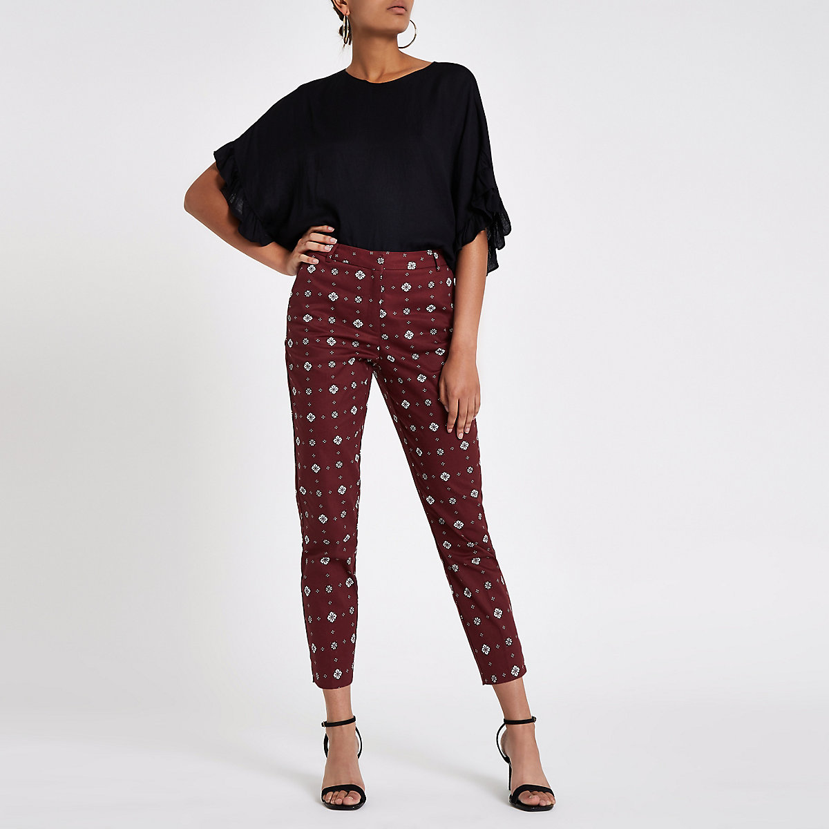 Cream tile print cigarette trousers