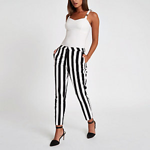 White stripe print cigarette pants