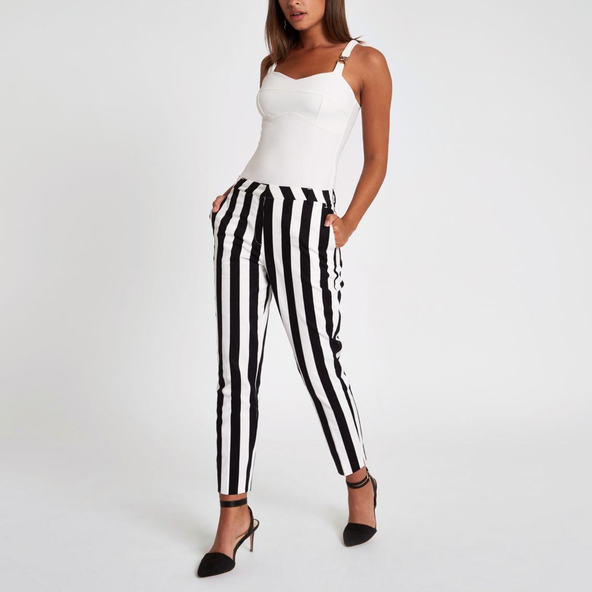 White stripe print cigarette trousers