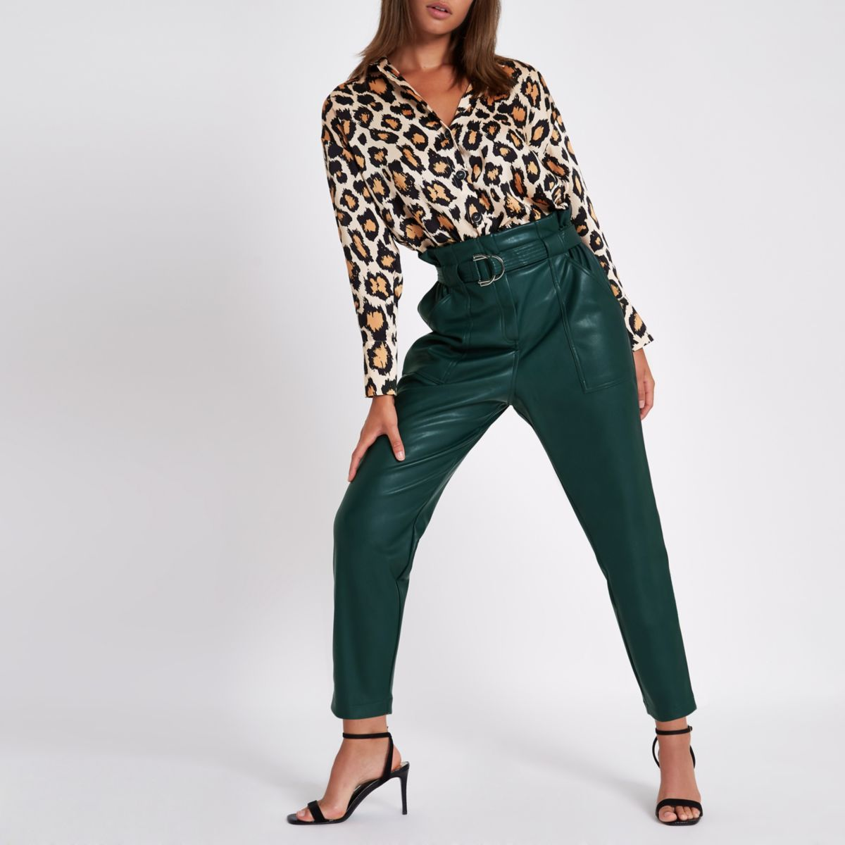 Dark green paperbag tapered trousers