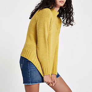Yellow high neck chunky knit jumper