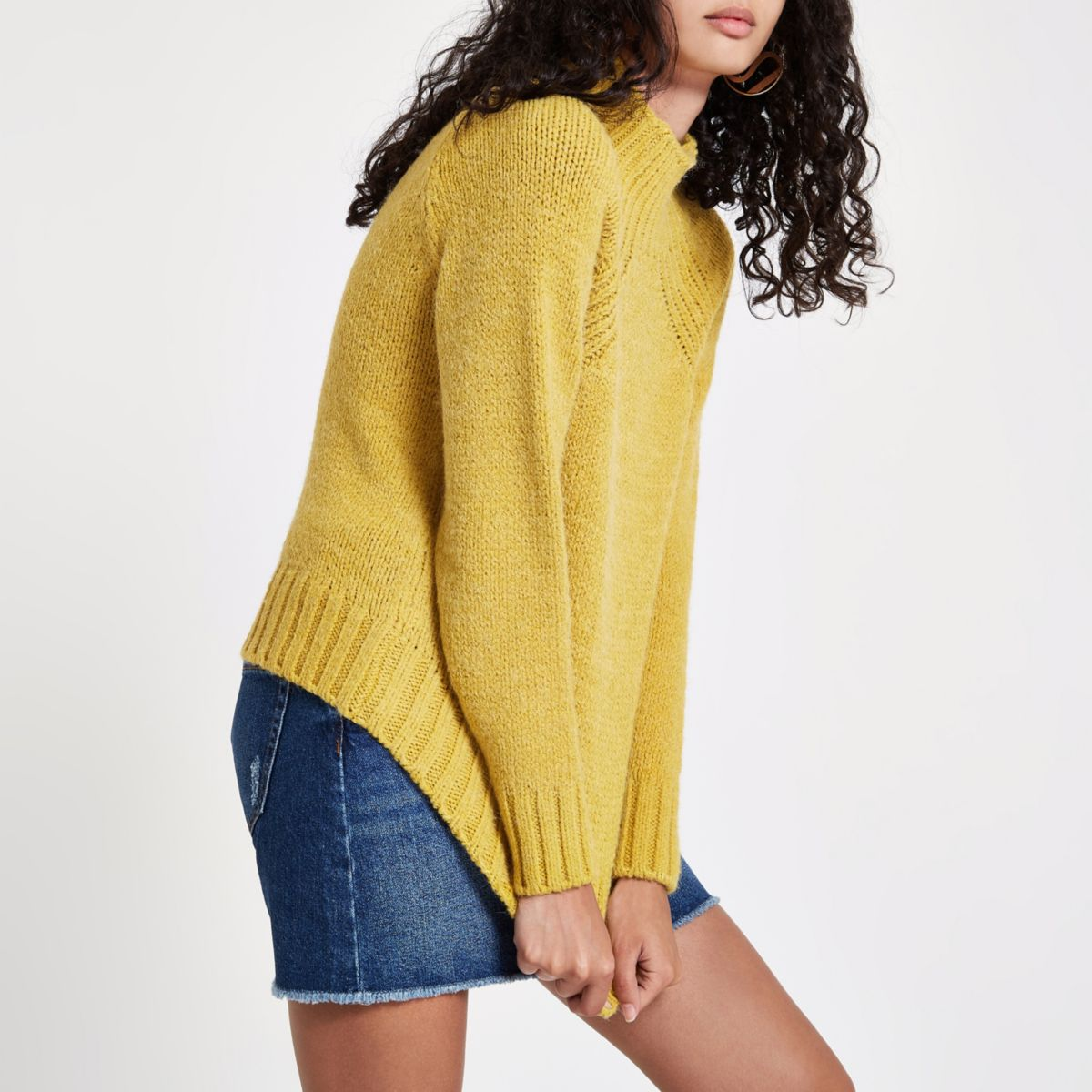 Yellow high neck chunky knit sweater