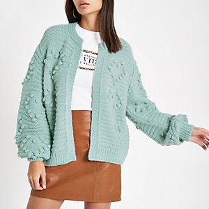 Green bobble knit long sleeve cardigan