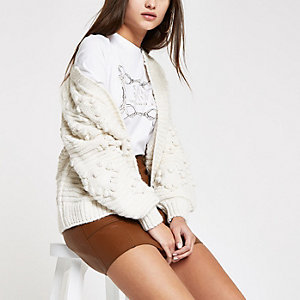 Cream bobble heart knit cardigan