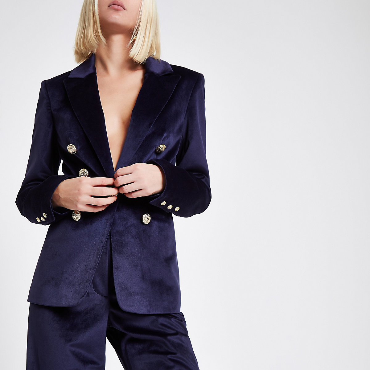 Navy velvet double breasted blazer