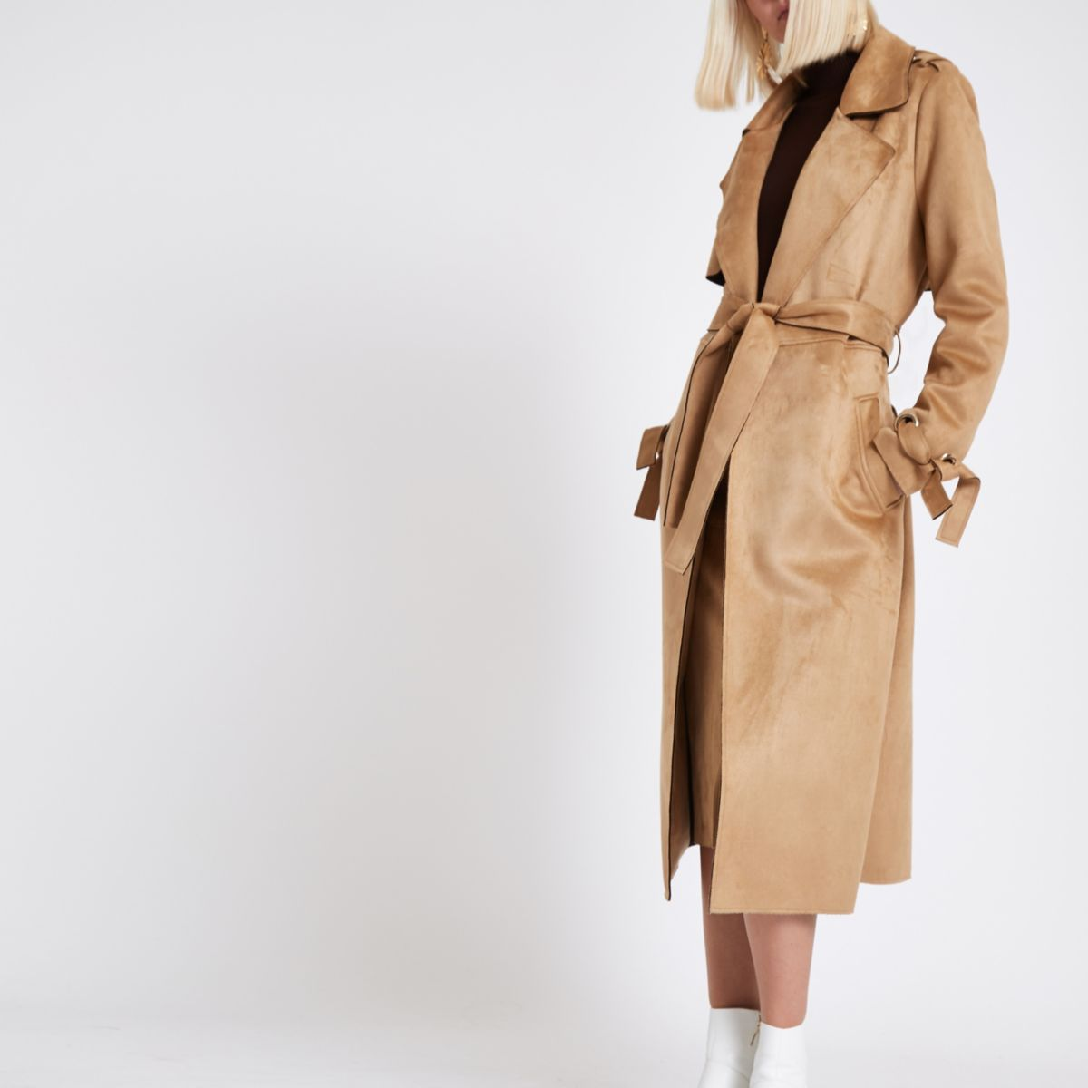 Brown faux suede eyelet sleeve trench coat