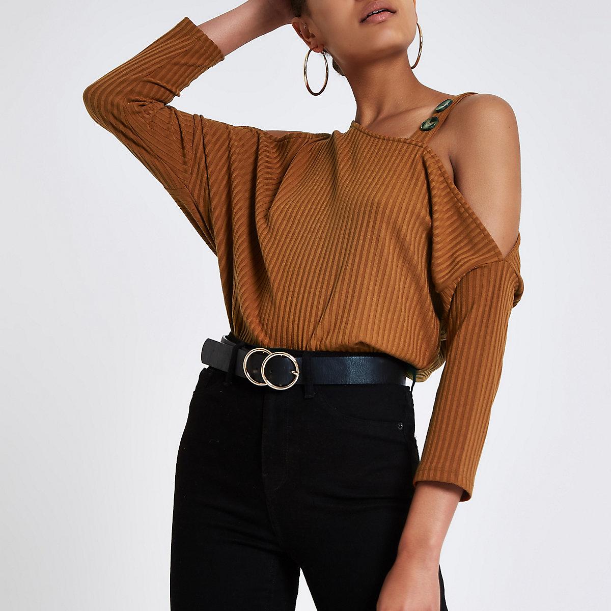 Brown cold shoulder button top