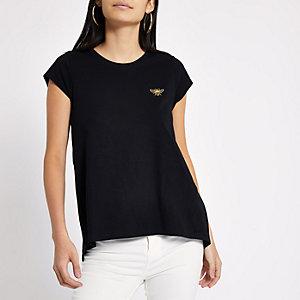 Zwart geborduurd T-shirt met wespenprint
