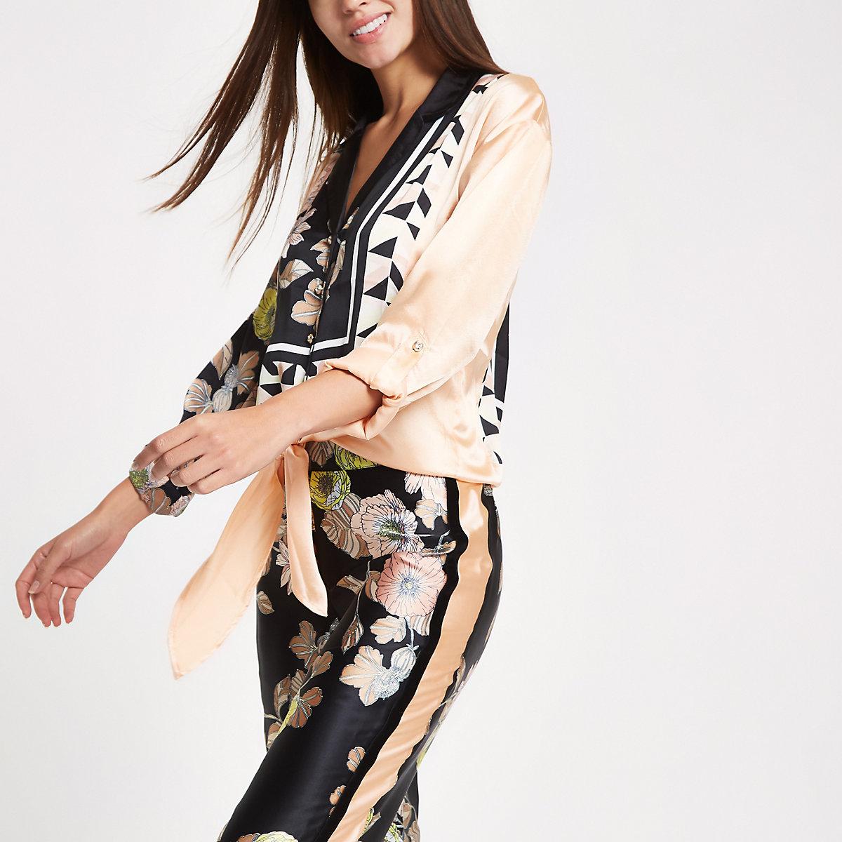 Black satin floral tie front pajama shirt