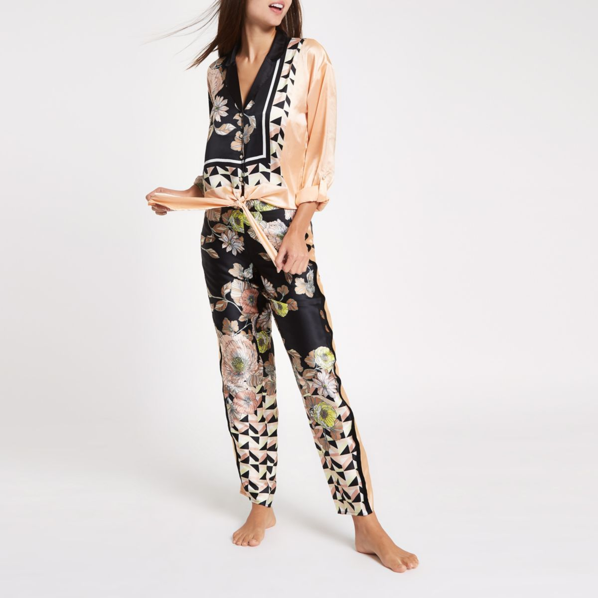 Black satin floral print pajama pants