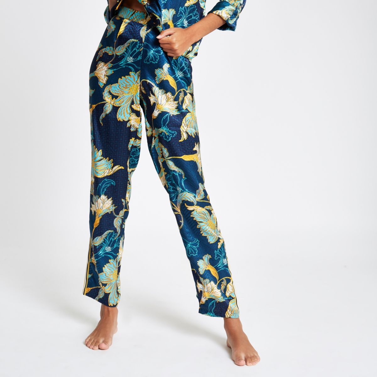 Blue floral satin wide leg pajama pants