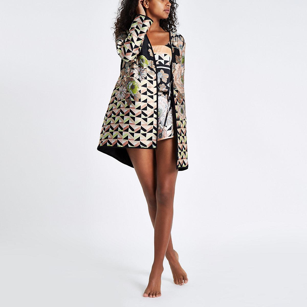 Robe De Chambre Matelassée En Satin à Fleurs Noire Pyjamas