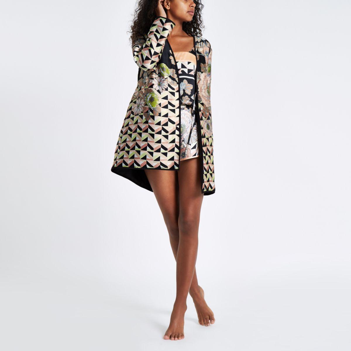 Black satin floral padded dressing gown - Pajamas & Loungewear ...