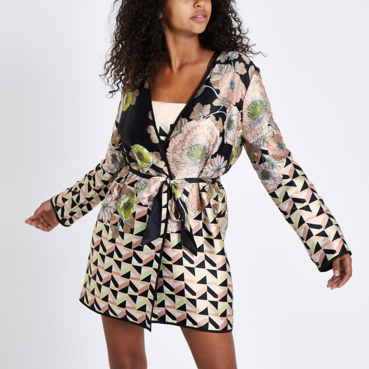 Black satin floral padded dressing gown