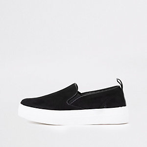 Black slip on plimsolls